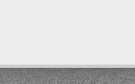 3d rendering. Modern dark carpet flooring with empty white wall background. 写真素材