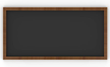3d rendering. Dark empty simple classic style wood board frame on white background.