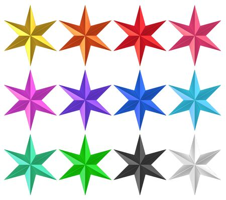 3d rendering. colorful Golden Six pointed star with clipping path set collection isolated on white background.