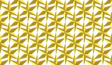 3d rendering. Seamless Golden six pointed star shape pattern on white background.