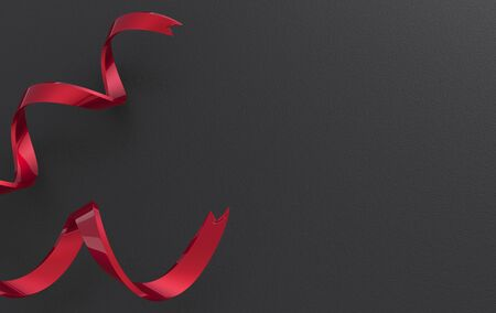3d rendering. Red curl ribbons on black paper wall background.