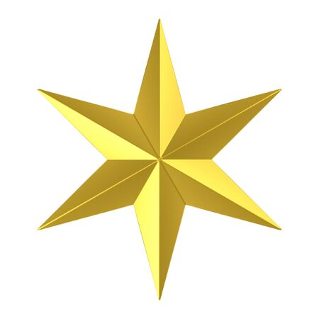 3d rendering. Gloden Six pointed star with clipping path isolated on white background. Stock Photo