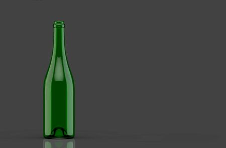 3d rendering. Empty transparent  red wine bottle green glass on dark gray background. Banque d'images - 137637690