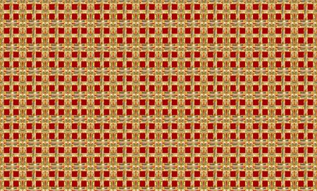 3d rendering. Abstract Golden square mesh on red wall background.