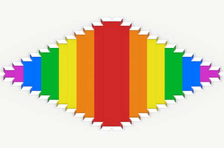 3d rendering. lgbt rainbow color square grid tile on white wall design background.