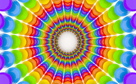 3d rendering. colorful lgbt rainbow bubble sphere tunnel wall design art background.