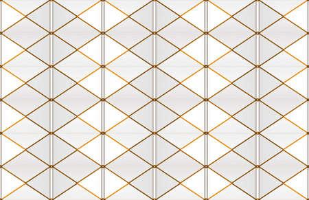 3d rendering. modern luxurious seamless gold white grid pattern tile wall design background. Stockfoto