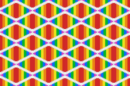 3d rendering. seamless lgbt rainbow color square grid tile pattern wall design background.