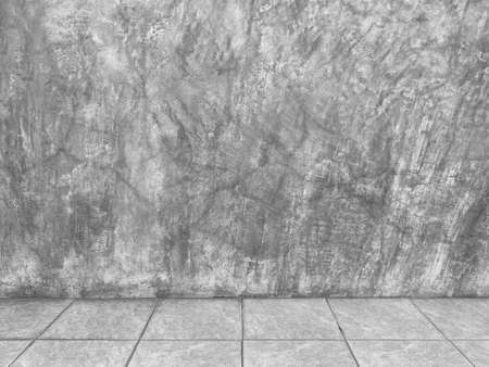 natural weathered cement wall and square ceramic floor background. Stockfoto