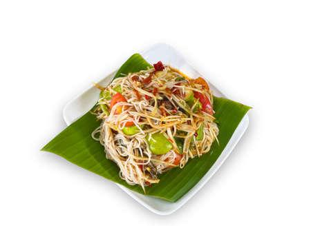 Thai Food healthy SOM TUM dish on white background.