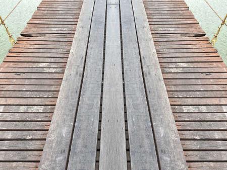natural old weathered wood panel pathway bridge floor texture background.