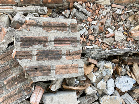 Old broken Brick pieces stack at construction site work place.