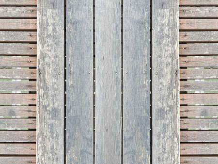 natural old weathered wood panel pathway wall floor texture background.