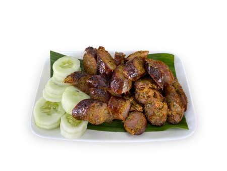 Thai northern local food sausage dish on white background.