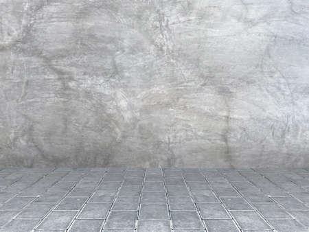 natural weathered cement wall and brick blocks path floor background. Stockfoto
