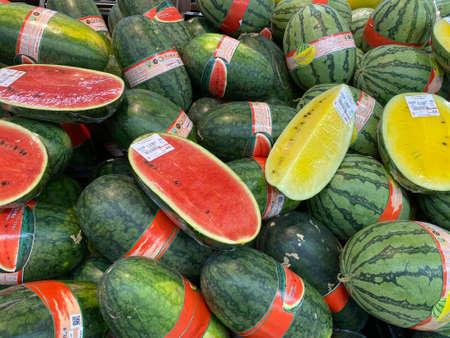 2020 May 20. Bangkok Thailand. Fresh organic watermelon on sale at supermarket.