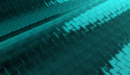 3d rendering. modern dark light blue metal square tiles background. Stockfoto