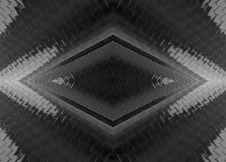 3d rendering. modern futuristic dark grid tunnel wall or floor design background. Stockfoto