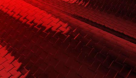 3d rendering. modern dark red metal square tiles background.
