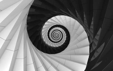 3d rendering. Alternate White and black spiral stairs background. yin yang of oriental style.