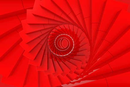 3d rendering. Red twirl swirl art stairs background.