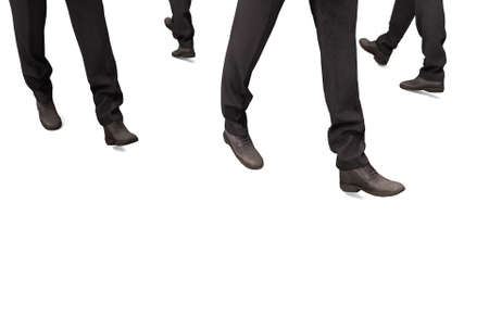 3d rendering. legs of businessman group who walking on white road.