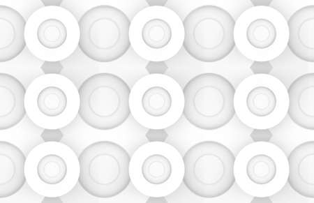 3d rendering. Seamless Abstract white circular art paper pattern wall background.