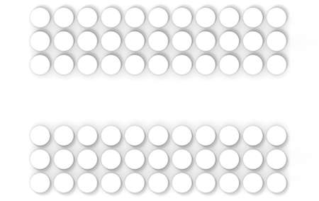 3d rendering. Abstract minimal white circle buttons art design wall background.