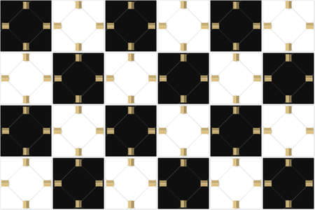 3d rendering. seamless modern luxury Alternate white and black grid square art pattern wall background. Stock fotó