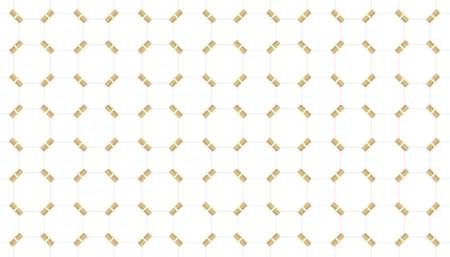 3d rendering. modern luxurious seamless gold white grid pattern tile wall design background. Stock fotó
