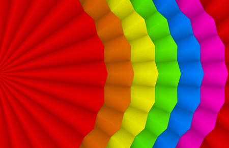 3d rendering. lgbt rainbow color Fanfold paper design wall background.