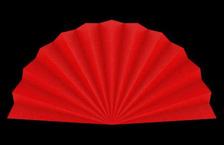 3d rendering. Folding Oriental Chinese Red paper fan on black wall background. Stock fotó