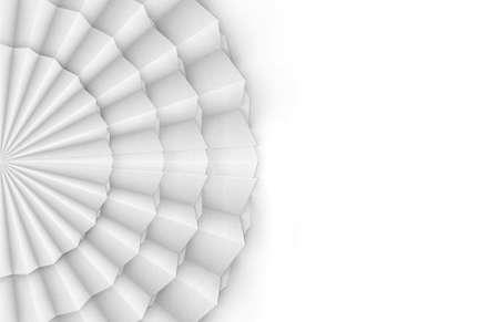 3d rendering. Abstract circular White folding paper fan art wall background. Stock fotó
