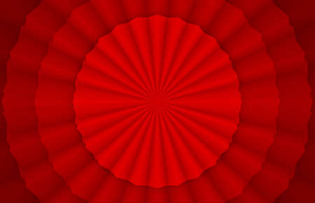 3d rendering. Folding Oriental circular Chinese Red paper fan design wall background.