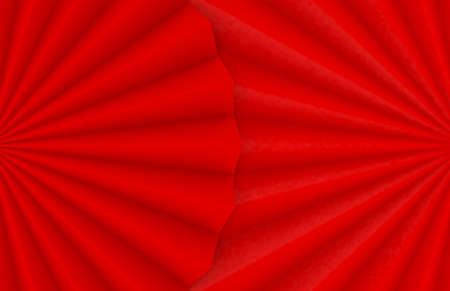 3d rendering. Folding Oriental Chinese Red paper fan design wall background.