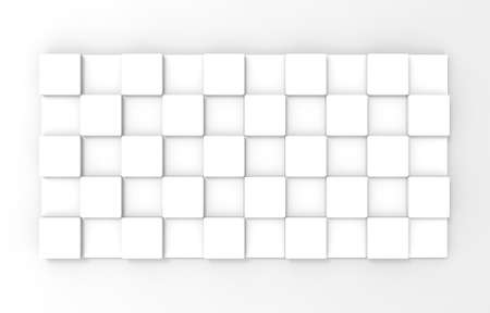 3d rendering. Simple Square cube box plate board on white wall background.