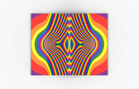 3d rendering. top view of a artistic Spreading empty rainbow color cover book on white background.