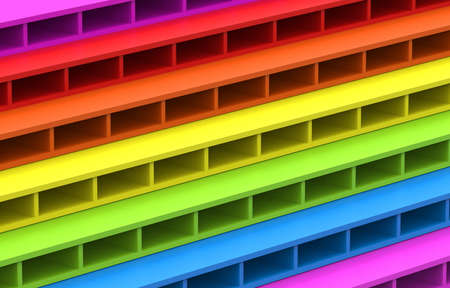 3d rendering. LGBT rainbow flag color brick block stack residential wall design background.