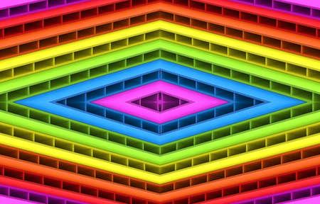 3d rendering. Lgbt rainbow color square grid tile pattern wall design background. Stock fotó
