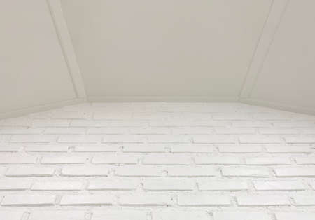 Empty white brick wall and ceiling wall background.