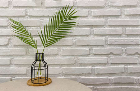 decorating  green leaf branch pot with white brick wall as background.