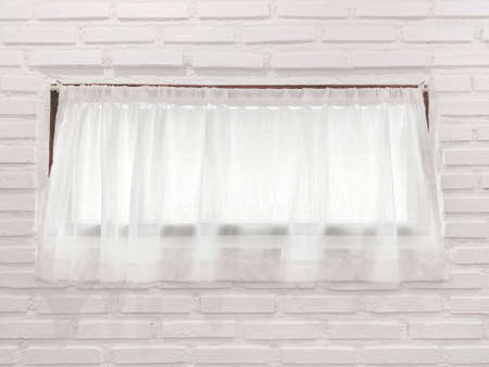 White softy curtain window wall background.