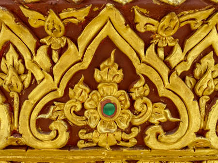 Thai traditional flower or kanok pattern design wall for temple.