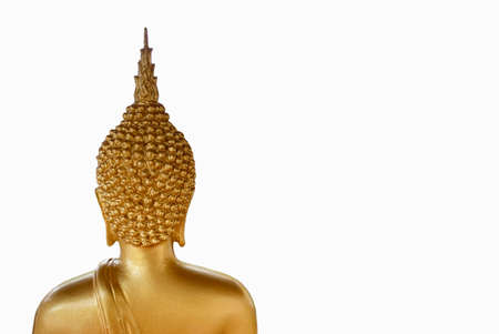 Back view of Thai ancient old golden Buddha statue isolated on white background. Stock fotó