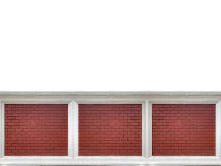 brown brick stack fence wall texture isolated on white background.