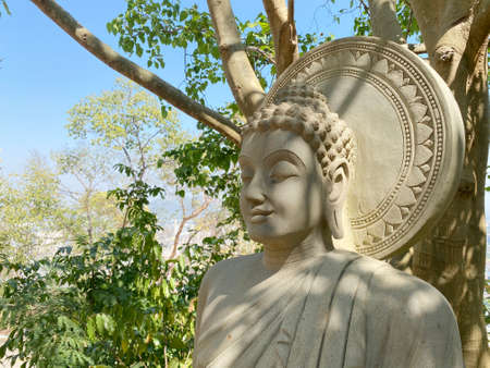Thai sitting Buddha sclupture statue  surrounded by natural green trees forest background on sunny day. Stok Fotoğraf