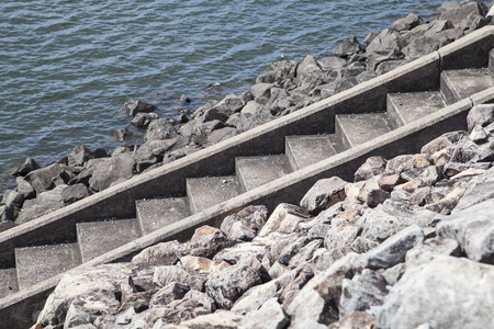 rungs: steps leading down into sea