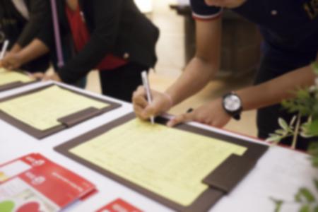 会議室の人々 のイメージ登録フォームをぼかし 写真素材