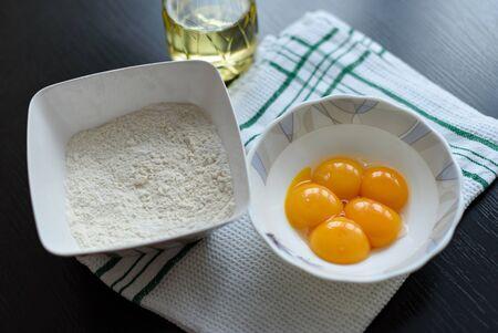 yolks: Five egg yolks and flour