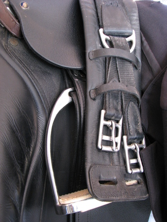 saddle: English saddle, girth, stirrups... Stock Photo